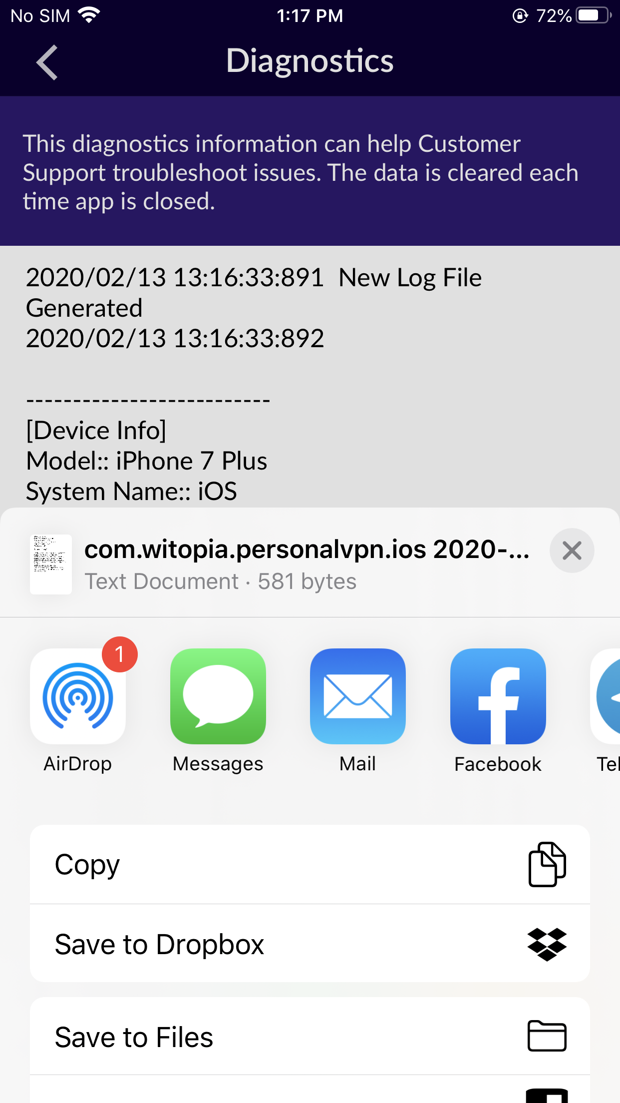iOS App Logs Copy